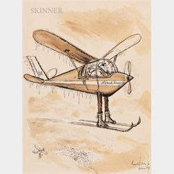 Ronald Searle (British, 1920-2011)      Nanook Airways Bush Pilot