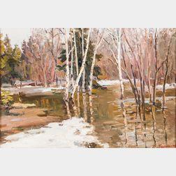 Dmitry Fedorovich Chumakov (Russian, 1913-c. 1980s)      Birches and Vernal Pool