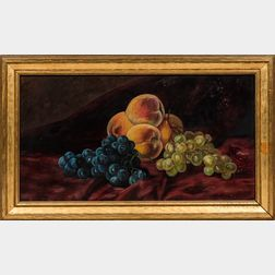 American School, Late 19th/Early 20th Century      Still Life with Fruit on a Purple Cloth