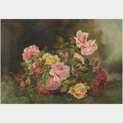American School, 19th Century  Still Life with Roses