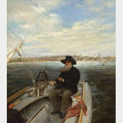 Edward Lamson Henry (American, 1841-1919)  Portrait of Judge Charles P. Daly in His Boat on Sag Harbor with His Dog.