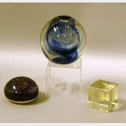 Contemporary Studio Blue Art Glass Vase, a Colorless Glass Cube Paperweight, and a Murano Glass Paperweight.