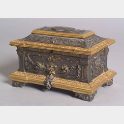 French Silvered Bronze and Bronze Dore Renaissance Revival Jewel Casket