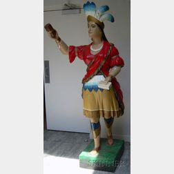 Polychrome Painted and Carved Wooden Cigar Store Indian Princess Figure