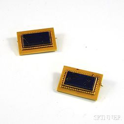 Pair of Small 14kt Gold and Lapis Lazuli Pins