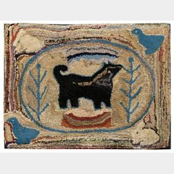 Wool and Cotton Pictorial Hooked Rug with Dog, Rabbits, and Geese