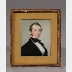 Portrait Miniature of a Blue-eyed Gentleman Wearing a Light Blue Vest