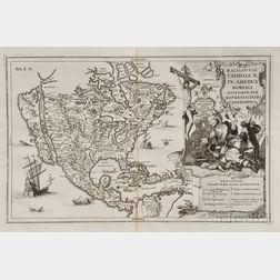 North America. Heinrich Scherer (1628-1704)   Religionis Catholicae in America Boreali Disseminatae Repraesentatio Geographica