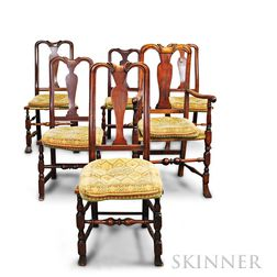 Assembled Set of Six Queen Anne Maple Chairs