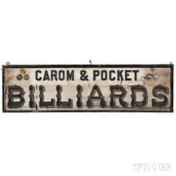 """Paint-decorated """"CAROM & POCKET BILLIARDS"""" Trade Sign"""