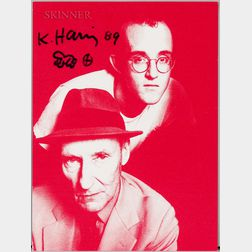 After Tseng Kwong Chi (American, 1950-1990) Keith Haring and William S. Burroughs/A Signed Announcement for the Publication of the Suit