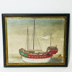 Framed Gouache on Paper Portrait of a Junk