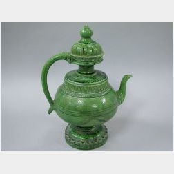 Hispano-Moresque Green Glazed Earthenware Puzzle Jug.