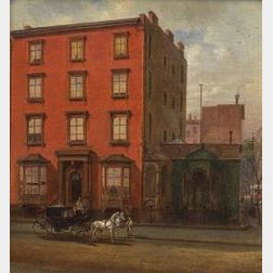 Edward Lamson Henry, (American, 1841-1919)  A Townhouse with a Carriage.