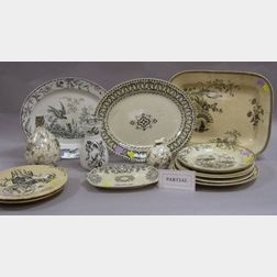 Seven Assorted English Black and White Transfer Decorated Ironstone Platters,   Eight Plates, a Holder and Two Ceramic Vases