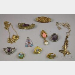 Group of Mostly Gilt Metal Art Nouveau and Aesthetic Movement Jewelry