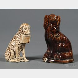 Two Small Pottery Dog Banks