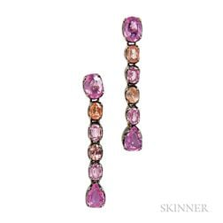 18kt Blackened Gold Gem-set Earrings, Laura Munder