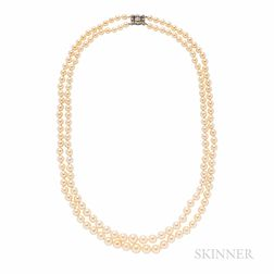 Cultured Pearl Double Strand Necklace