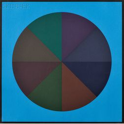 Sol LeWitt (American, 1928-2007)      A Circle Divided into Eight Equal Parts, with Colours Superimposed in Each Part