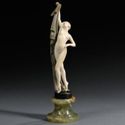 Continental School, Late 19th/Early 20th Century       Art Deco Bronze and Ivory Figure of a Nude Dancer