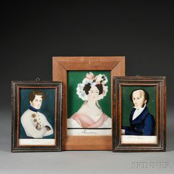 Northern European School, Late 18th/early 19th Century,      Three Portraits of Napoleon, Josephine, and Martin Van Buren.