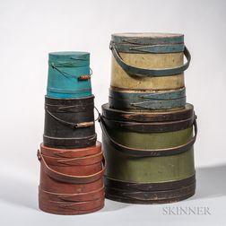 Five Painted Lidded Pails