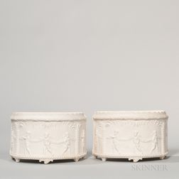 Pair of Wedgwood & Bentley Solid White Jasper Bough Pots