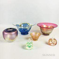 Six Pieces of Correia Art Glass