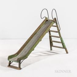 Green-painted Wood and Metal Folding Model of a Playground Slide