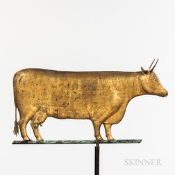 Molded and Gilded Sheet Copper Cow Weathervane