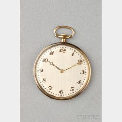 Art Deco Platinum and 18kt Gold Open Face Pocket Watch, Touchon & Co.