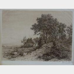 Three Landscape Views:      Albert Fitch Bellows (American, 1829-1883), Farmhouse by a Pond