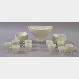 Twenty-one Piece Russel Wright Designed White Glazed Ceramic Tableware Set