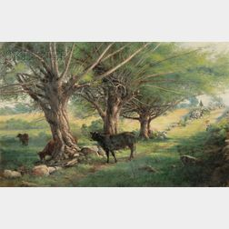 George Albert Frost  (American, 1843-1907)      Sylvan Landscape with Cattle and Farmer