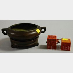 Bronze Censer and Two Soapstone Seals