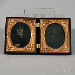 Sixth-plate Ambrotype Portraits of an Elderly Couple