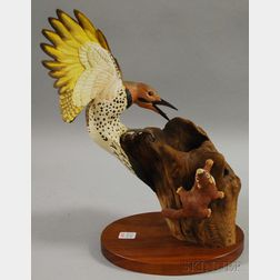 "Robert and Virginia Warfield Carved and Pained Wood ""Yellow-shafted Flicker and   young Red Squirrel"" Figural Group"
