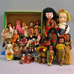 Group of Ethnic-dressed Dolls of the World and Little Girl Dolls