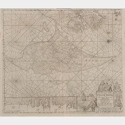 Newfoundland, Marine Chart, Grand Banks. Gerard van Keulen (1678-1726)   Nouvelle Carte Marine du Grand Banq