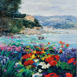 George Malva (Syrian, b. 1957)      Flower Garden and Rocky Cove