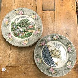 Set of Twelve Adams Currier & Ives Transfer-decorated Dinner Plates