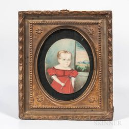 American School, Early 19th Century      Miniature Portrait of a Boy in a Red Dress