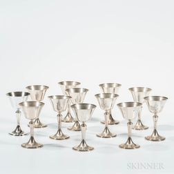 Set of Twelve Whiting/Gorham Sterling Silver Cordials