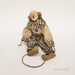 Carved and Painted Clown Doll