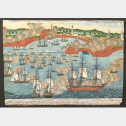 American School, 19th Century  Commodore Preble's Attack and Bombardment of the Harbor at Tripoli in 1804.