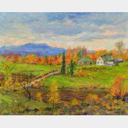 Arthur B. Wilder (American, 1857-1945)    New England View with Farmhouse