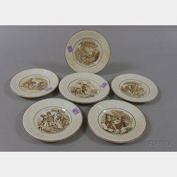 Set of Six Sarreguemines Transfer Fables of Fontaine Decorated Ceramic Dessert   Plates