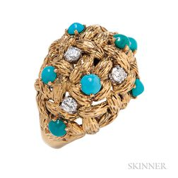 18kt Gold, Turquoise, and Diamond Ring, Mauboussin
