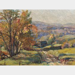 Philip Russell Goodwin (American, 1882-1935)      Autumn Landscape/An Oil Sketch